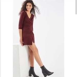 Topshop maroon wrap dress
